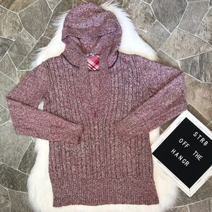 Maurices red marled v-neck hooded sweater size XL